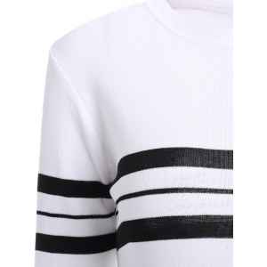 Casual Jewel Neck Striped Stitching Color 3/4 Sleeve Knitwear For Women -