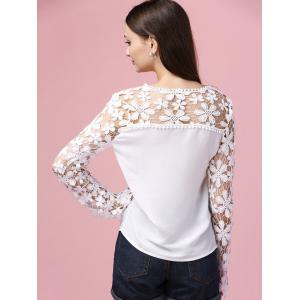 Sweet Long Sleeve Lace Splicing Hollow Out Blouse -