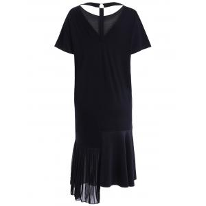 Casual Asymmetric Pleated Cut Out T-Shirt Dress For Women -