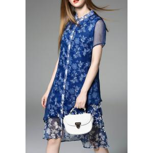 Asymmetric Floral Pattern Dress -