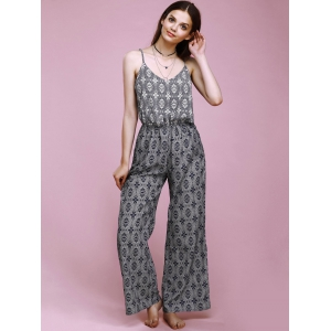 Trendy Spaghetti Strap Ornate Printed Loose-Fitting Cut Out Women's Jumpsuit -
