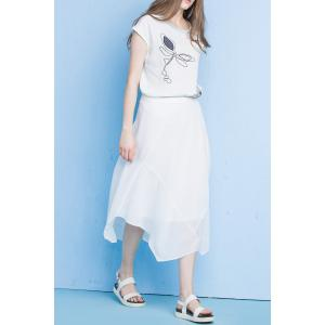 Asymmetrical Solid Color Skirt - WHITE XL