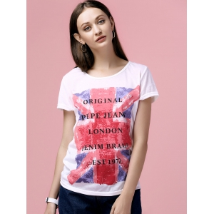 Casual Scoop Neck Flag Print T-Shirt For Women -
