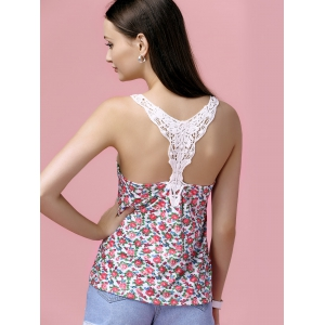 Stylish U Neck Floral Print Lace Splicing Tank Top For Women -