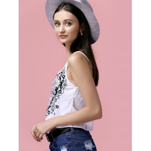 Casual Strappy Cross Back Print Tank Top For Women -