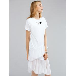 Simple Round Neck Short Sleeve Floral Embellished Layered Dress For Women -