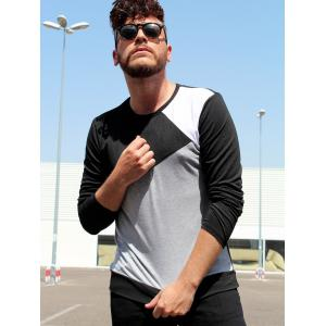 Multicolor Splicing Slimming Round Neck Long Sleeves Men's Vogue T-Shirt -