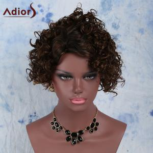 Fashion Black Mixed Brown Synthetic Fluffy Short Curly Capless Wig For Women