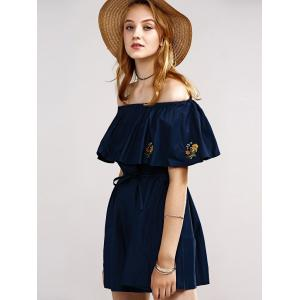 Stylish Off The Shoulder Embroidery Lace-Up Dress For Women -