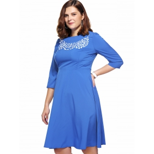 Brief Plus Size 3/4 Sleeve Printed Women's Flare Dress -