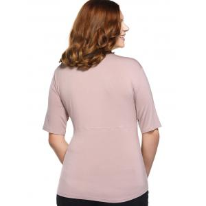 Fashionable Fitted V-Neck Tangle Up Top For Women - APRICOT 3XL