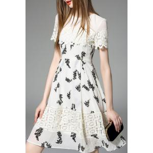 Lace Panel A Line Chiffon Dress -