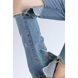 Embroidery Broken Hole Jeans -