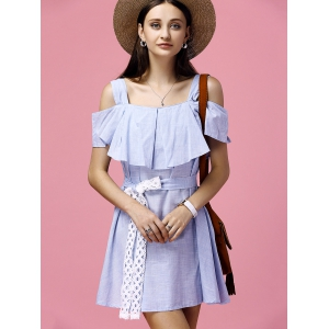 Sweet Blue Flounced Off-The-Shoulder High Waist Dress For Women -