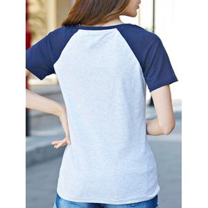 Casual Short Sleeve Round Neck Eiffel Pattern T-Shirt -