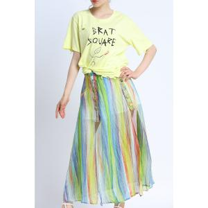 Colorful Striped Side Slit Skirt -