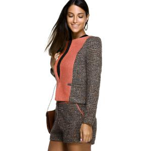 One ButtonTweed Coat and Tweed Shorts -