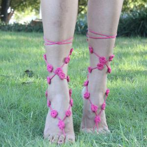 Handmade Hollow Out Flower Girl Anklets - LIGHT PINK