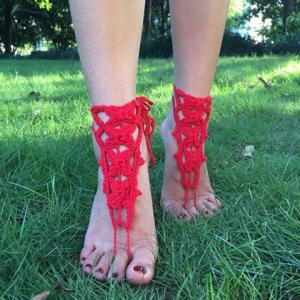 Handmade Butterfly Jewelry Anklets - RED
