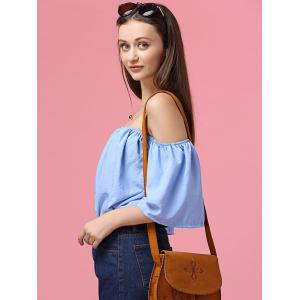 Sweet Off The Shoulder Flare Sleeves Blue Shirt For Women -