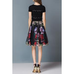 Pleated Floral Ball Gown Skirt -