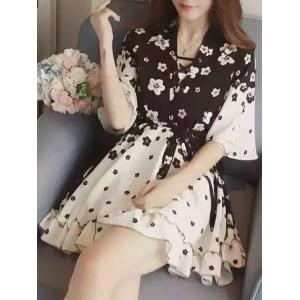 Chic Floral Print Lace Up Dress For Women