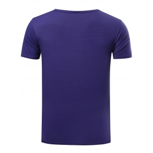 Slim Fit Solid Color Round Neck Gym T-Shirt For Men - DEEP BLUE 2XL