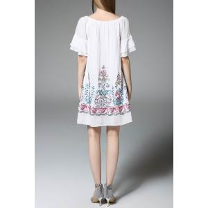 Flower Embroidered Ruffled Dress -