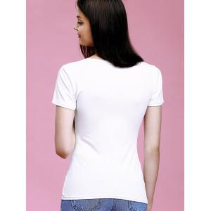 Stylish White Hollow Out T-Shirt -
