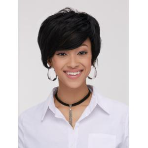 Spiffy Boy Haircut Straight Capless Black Synthetic Wig For Women