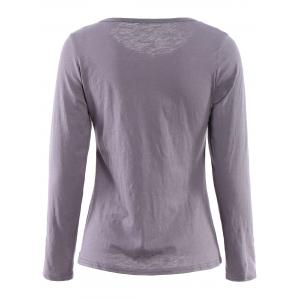 Casual Scoop Neck Long Sleeve Zip Up T-Shirt For Women -