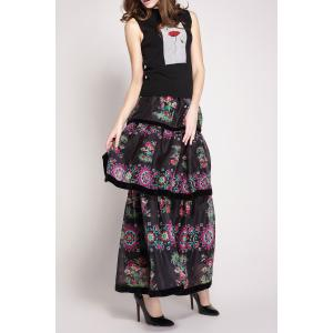 High Waisted Floral Print Layered Skirt -
