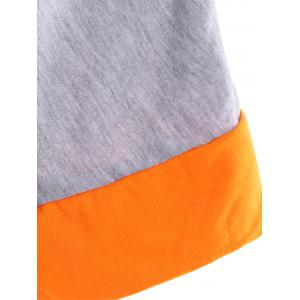 Chic Round Neck Half Sleeve Color Block Splicing Dress For Women -