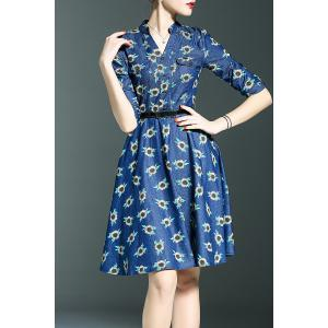 Belted Floral Print Dress -