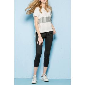 Round Neck Color Block High Low T-Shirt -