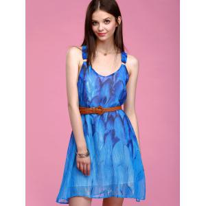 Refreshing Feather Print Sleeveless Chiffon Dress For Women - BLUE L