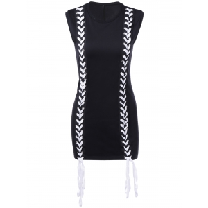 Brief Round Collar Lace-Up Sleeveless Dress For Women - BLACK L