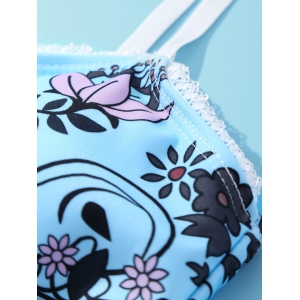 Sweet Spaghetti Straps Floral Printed Laciness Bikini Set For Women -