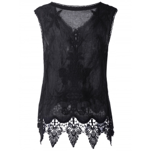 Bohemian Lace-Up Crochet Sleeveless Top For Women -