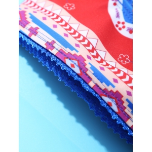 Ethnic Spaghetti Straps Laciness Abstract Print Bikini Set For Women - BLUE AND RED XL