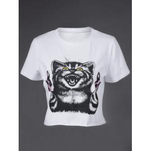 Fashionable Round Neck Short Sleeve Animal Motifs Crop Top