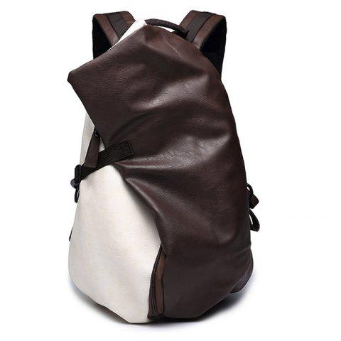 Online Trendy PU Leather and Colour Block Design Backpack For Men
