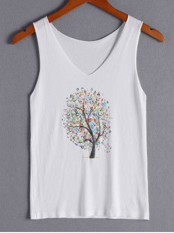 Hot Simple Tree Print V-Neck Tank Top For Women