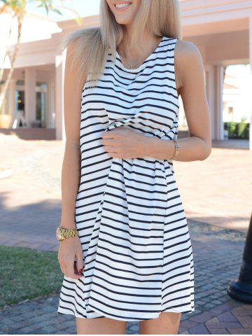 Outfit Tunic White Black Sleeveless Striped Dress