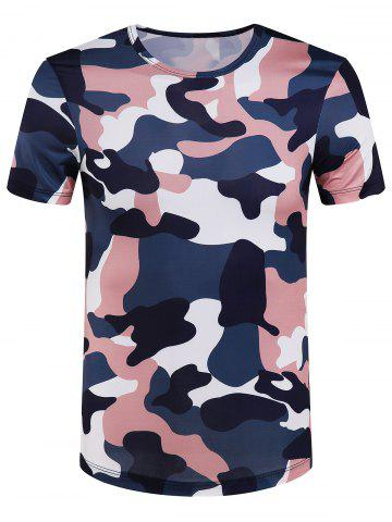 Affordable Slimming Round Collar Camo T-Shirt For Men