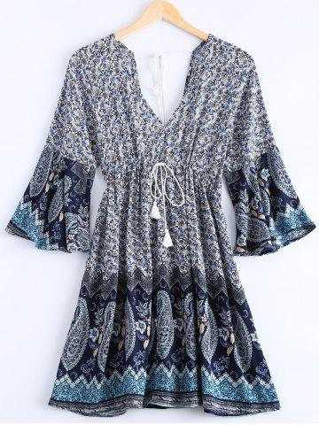 Buy Bohemian Plunging Neck Printing Lace Up Dress For Women