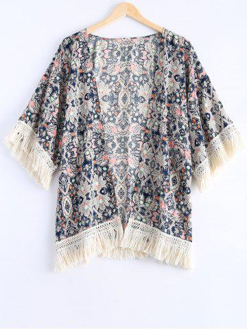 New Ethnic Style Fringe Floral Print Short Sleeves Kimono For Women