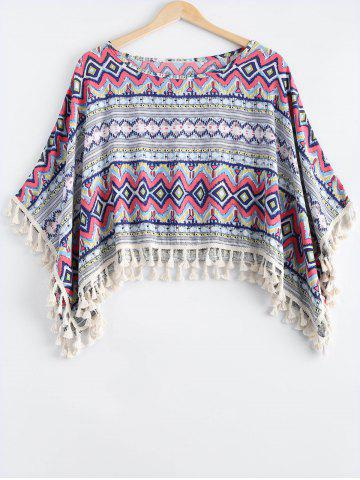 Outfits Ethnic Style Scoop Neck Printing Tassel Cape For Women
