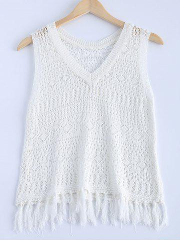 Chic Stylish V-Neck Crochet Fringe Sleeveless Top For Women