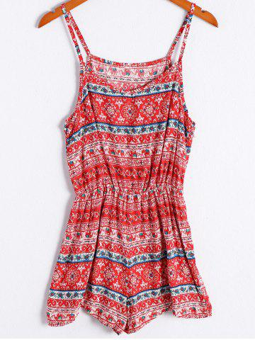 New Ethnic Style Tribal Print Spaghetti Strap Romper For Women RED XL